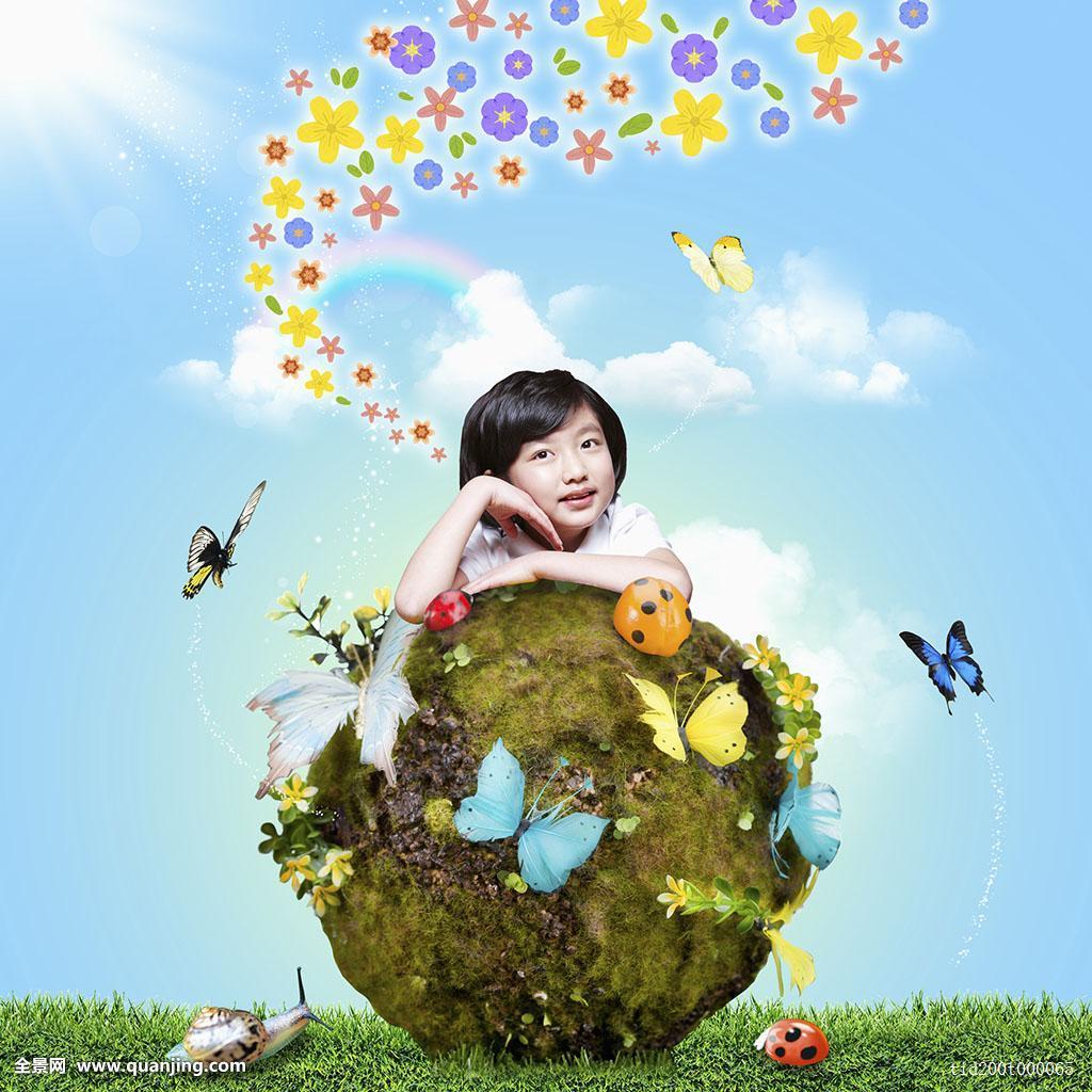 蓝色,亮光,人,植物,身体,孩子,脸,女性,女孩,只有一个女人,种族,插画图片