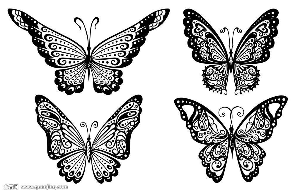 抽象,艺术,黑色,魅力,旧式,隔绝,弯曲,装饰,设计,插画,剪影,蝴蝶,纹身图片