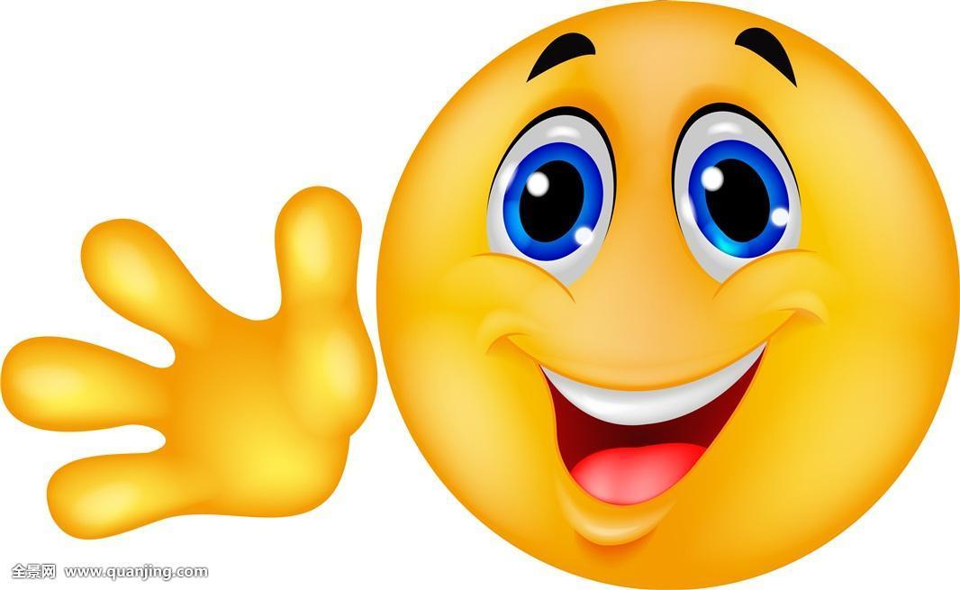 微笑,动画表情,摆动,手图片