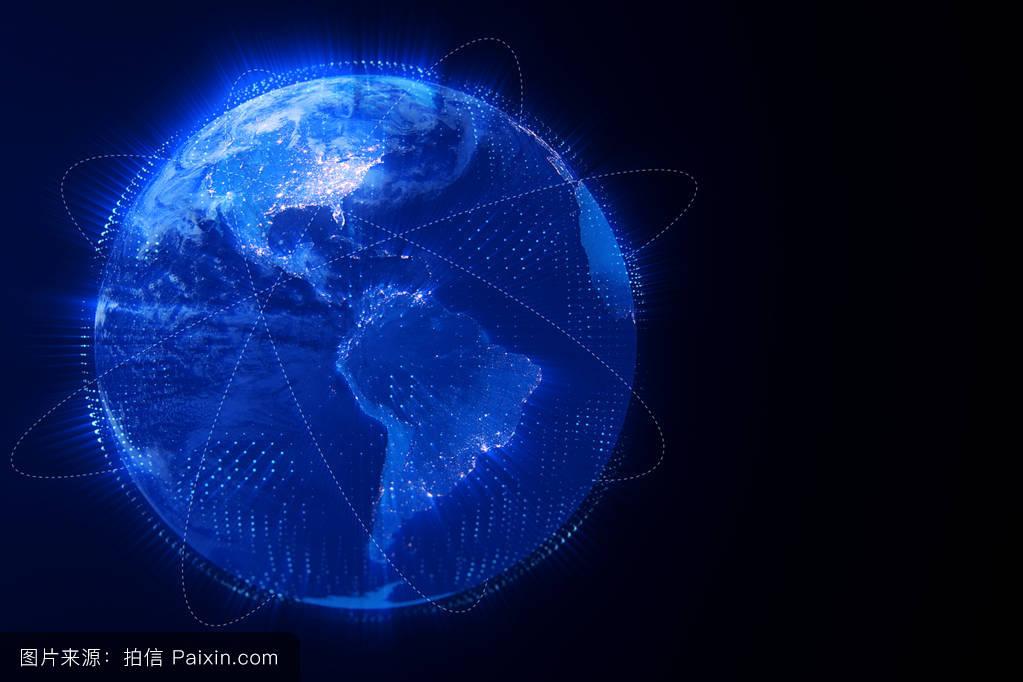 全球哈���d_3d数字渲染蓝色地球地球仪,与发光连接,互联网网络媒体技术全球化的