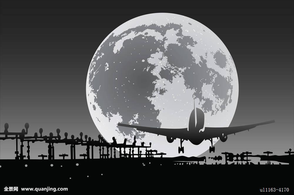 飞机,月亮,机场,夜晚,天空,满,占星术,天文,黑色,背景,球体,表面图片
