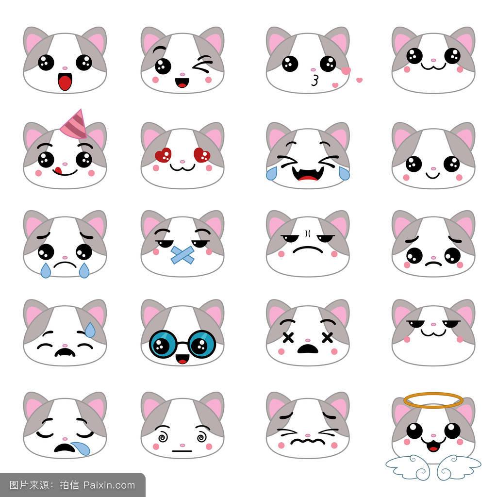 卡通,说话,猫,爱,吉祥物,符号,表情符号,悲伤,面对,概念,疲倦的,笑图片
