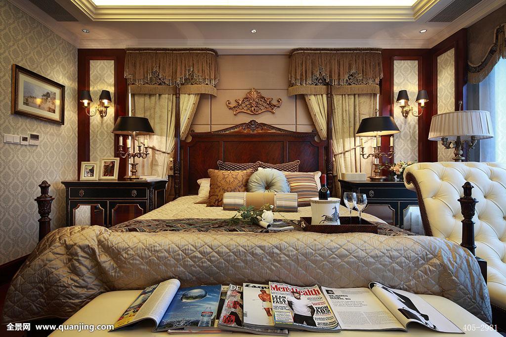 床,双人床,台灯,枕头,床头柜,大床,床上用品,被子,床单,卧室,窗帘图片