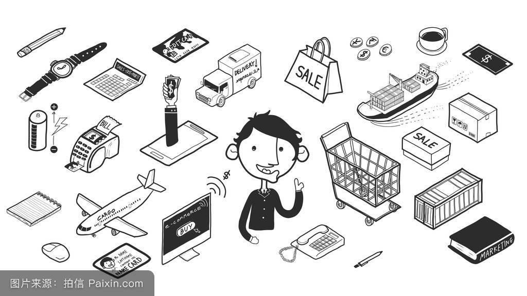 美丽的手绘图等距图形涂鸦设计风格电子商务:创意创意.图片