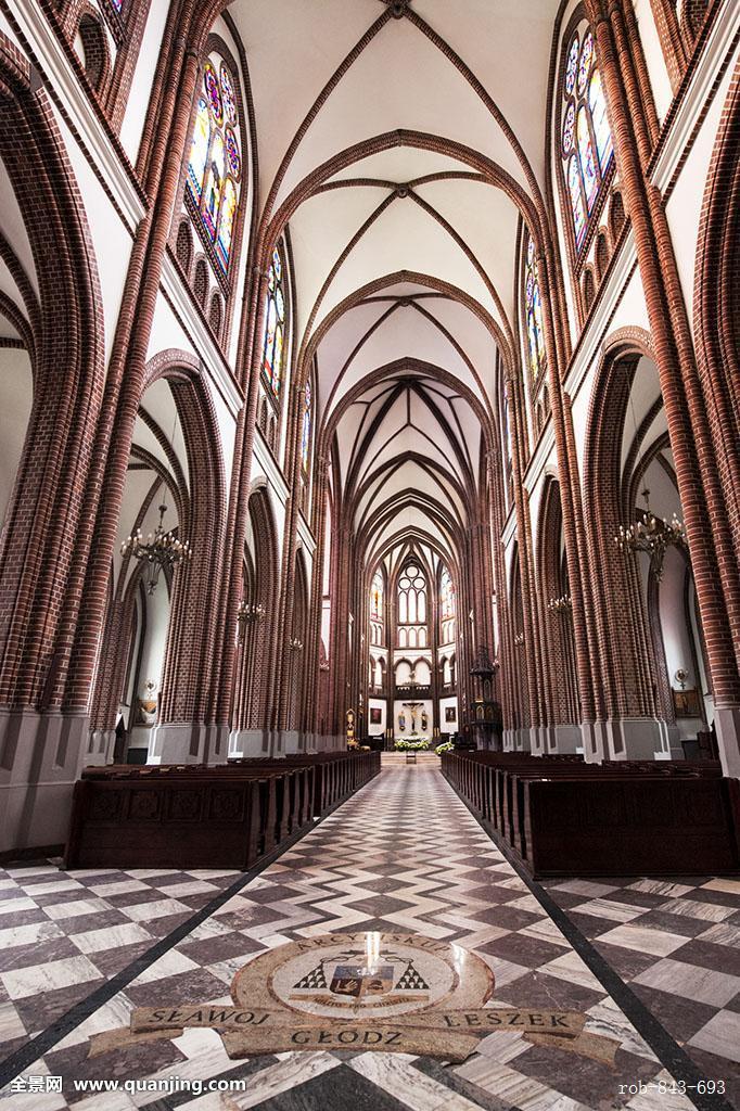 大教堂,哥特复兴,风格,室内,第二次世界大战,地区,华沙,波兰,欧洲图片