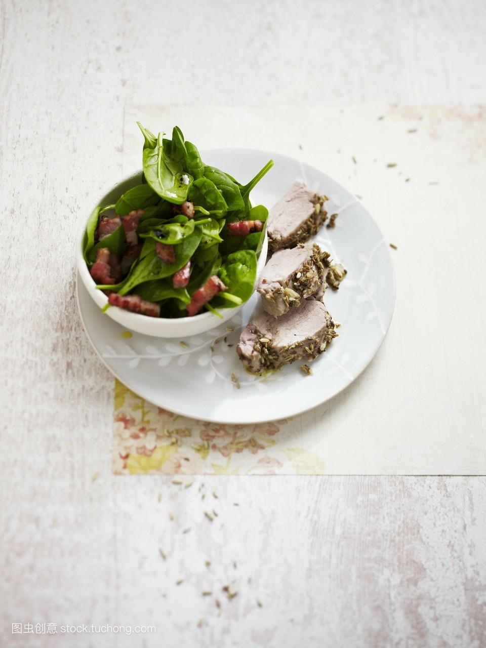 营养,肉类,就绪,辣,配方,猪肉,器皿,盘子,美味,做,大量,素菜,沙拉图片