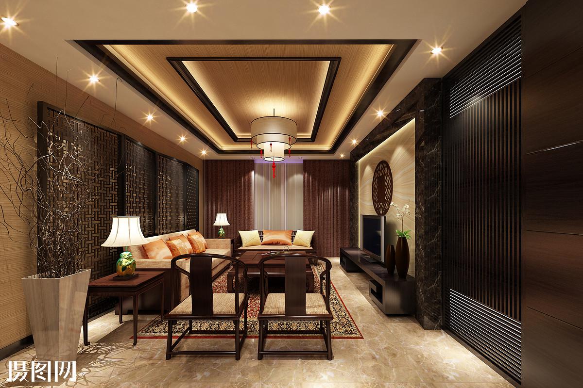 新中式客厅效果图图片