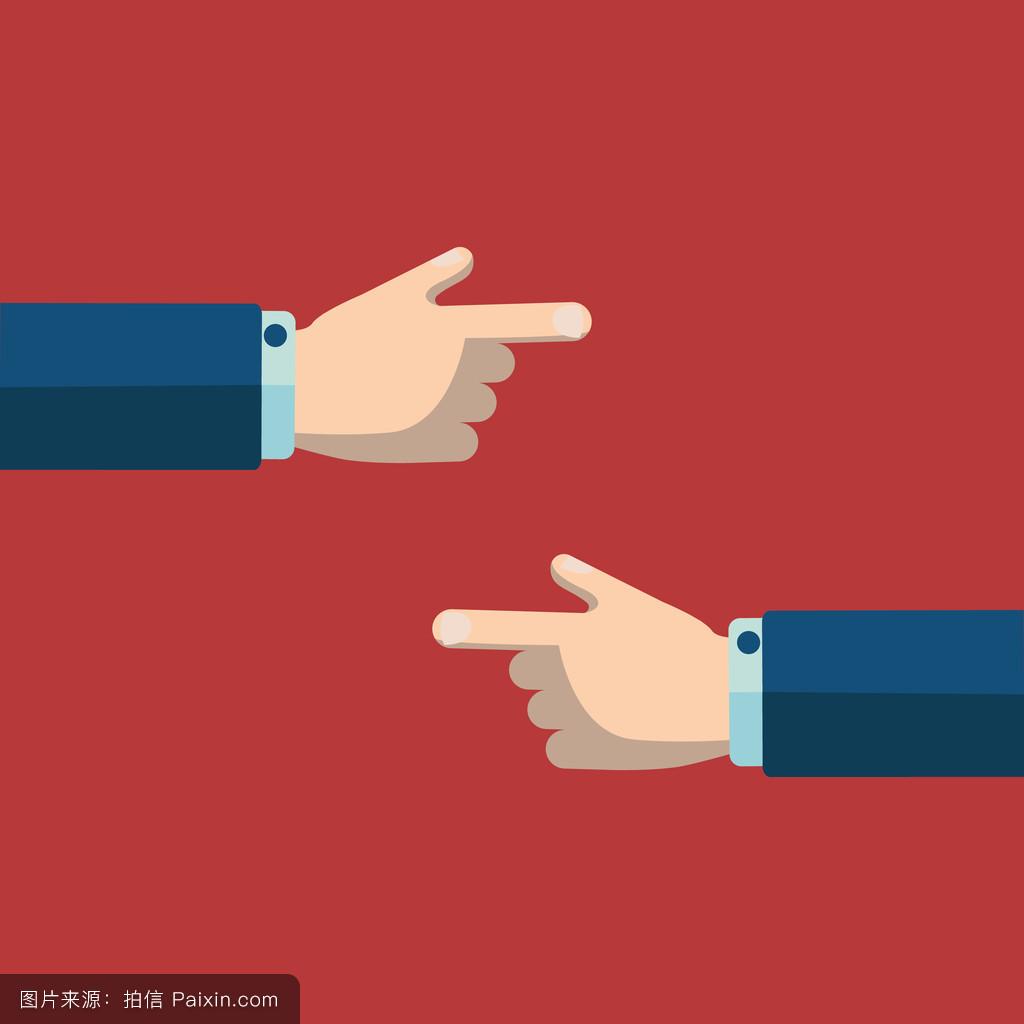 手指指向手图片