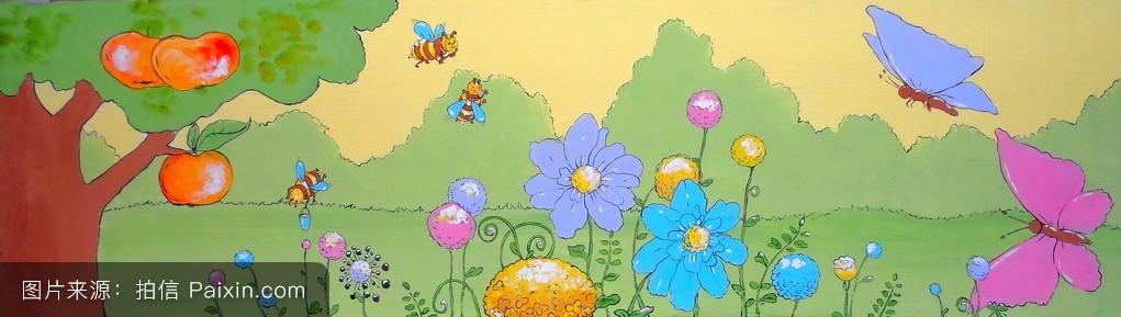 春天的背景,有花和蝴蝶.丙烯画.现代艺术,当代艺术.图片