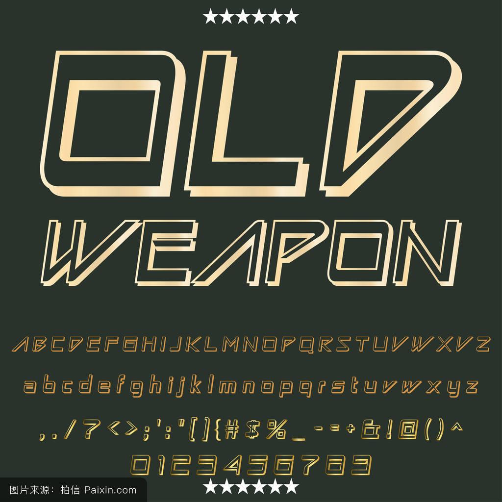 脚本字体字体旧武器老式字体字体标签和任何类型的设计矢量字体图片