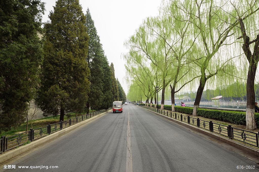路�_白天,北京,场景,道路,电瓶车,故宫,故宫东门外,故宫外围,观光车,广角