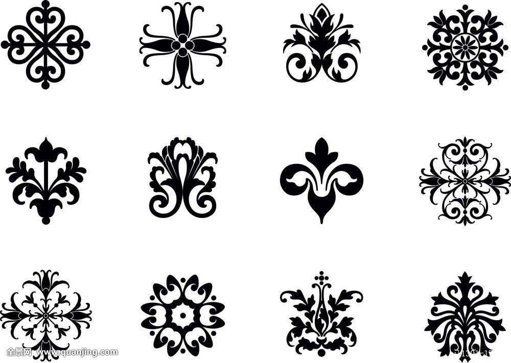 花装饰象征设计叶子华丽对称螺旋复杂精致图案装潢复古图片