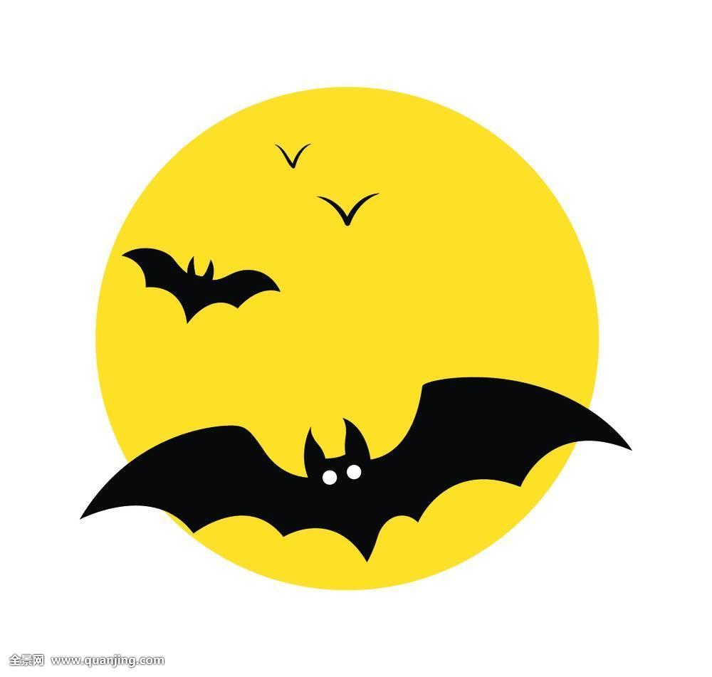 夜晚,午夜,月亮,可爱,脸,表情,有趣,眼睛,蝙蝠,鸟,翼,羽毛,形状,剪影图片