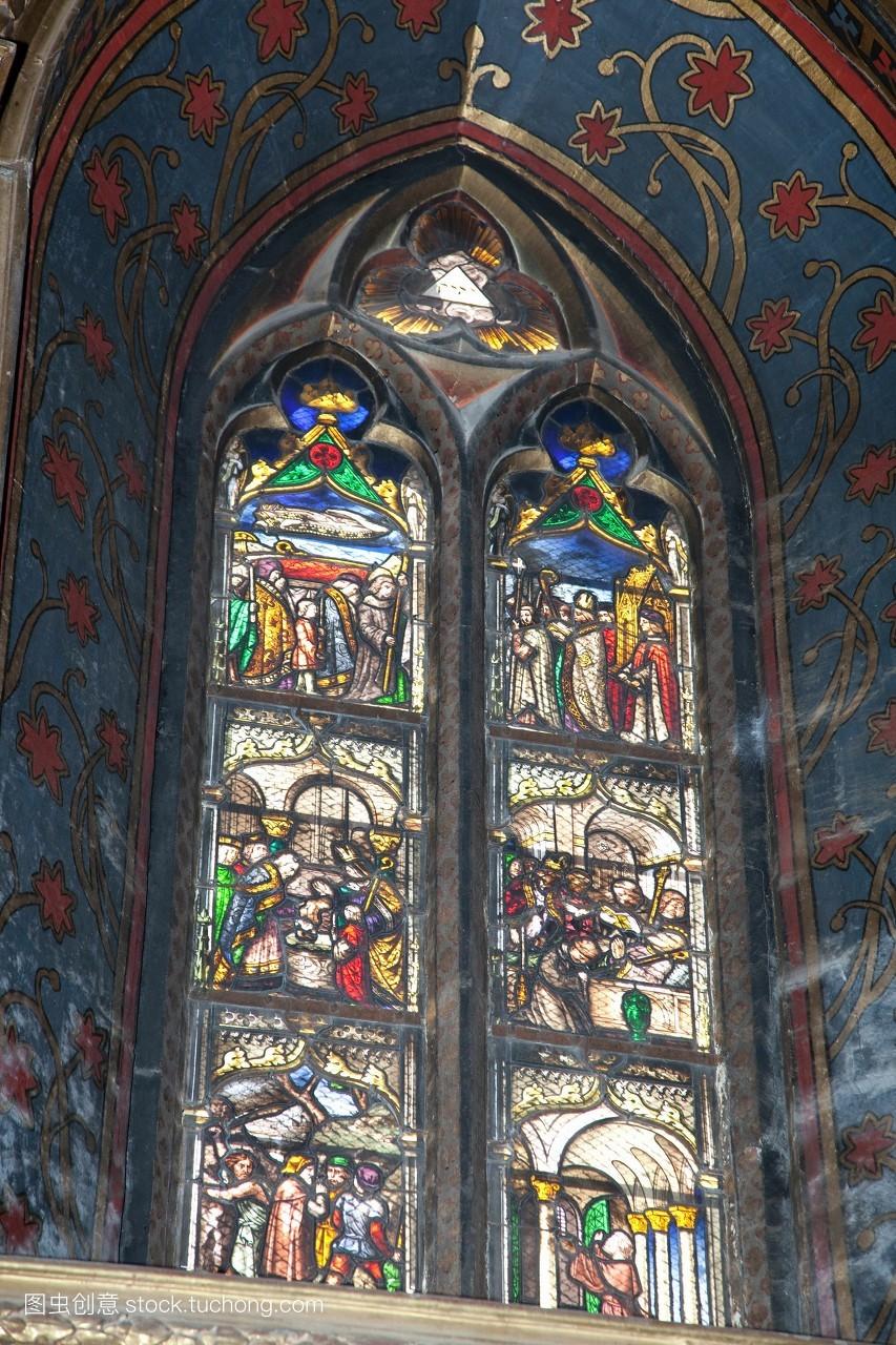 萨穆埃尔,窗户,法国,大教堂,玻璃,欧洲,迈高,位置,图片图片