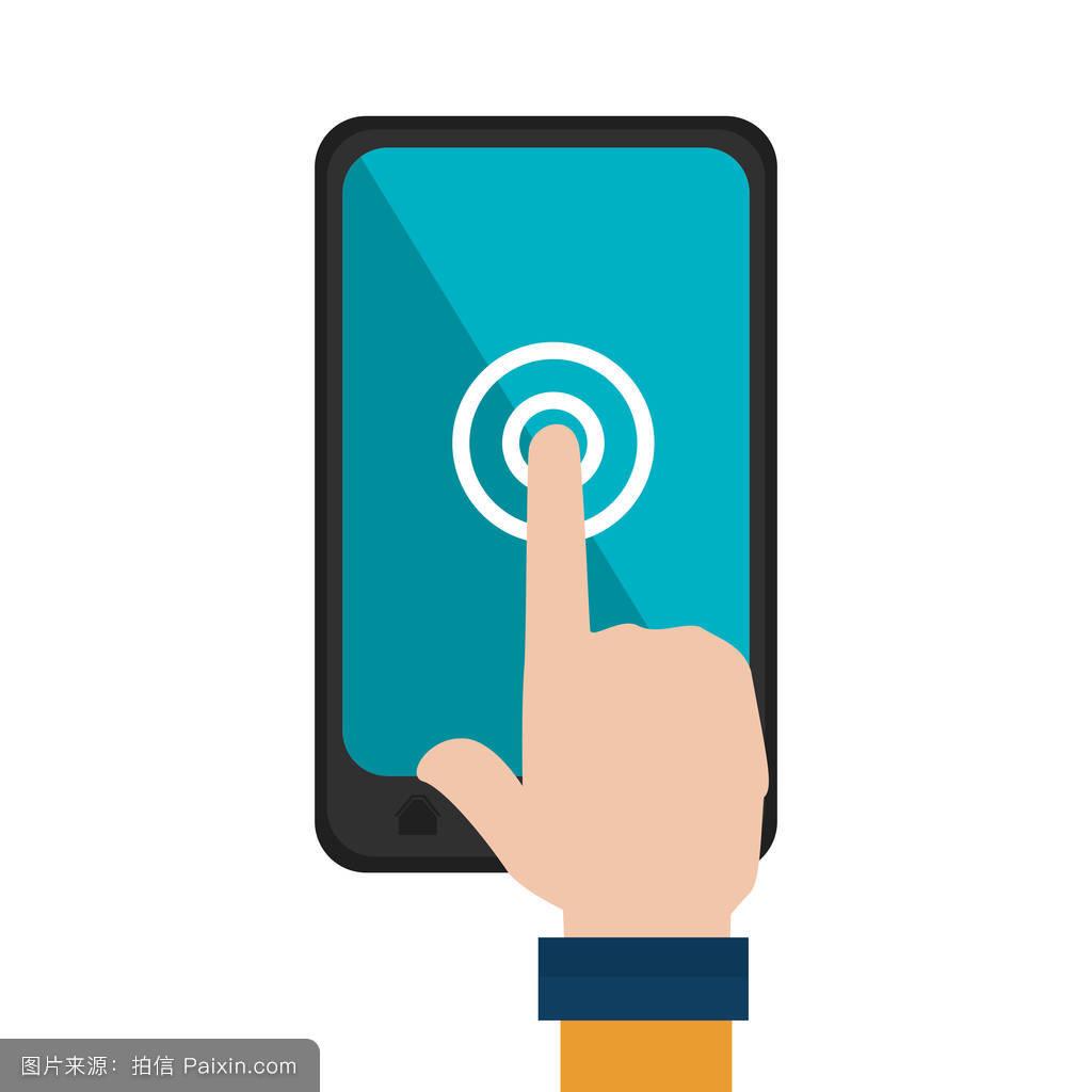 数字的简单的分离手机聪明的屏幕手指签名设计插图显示