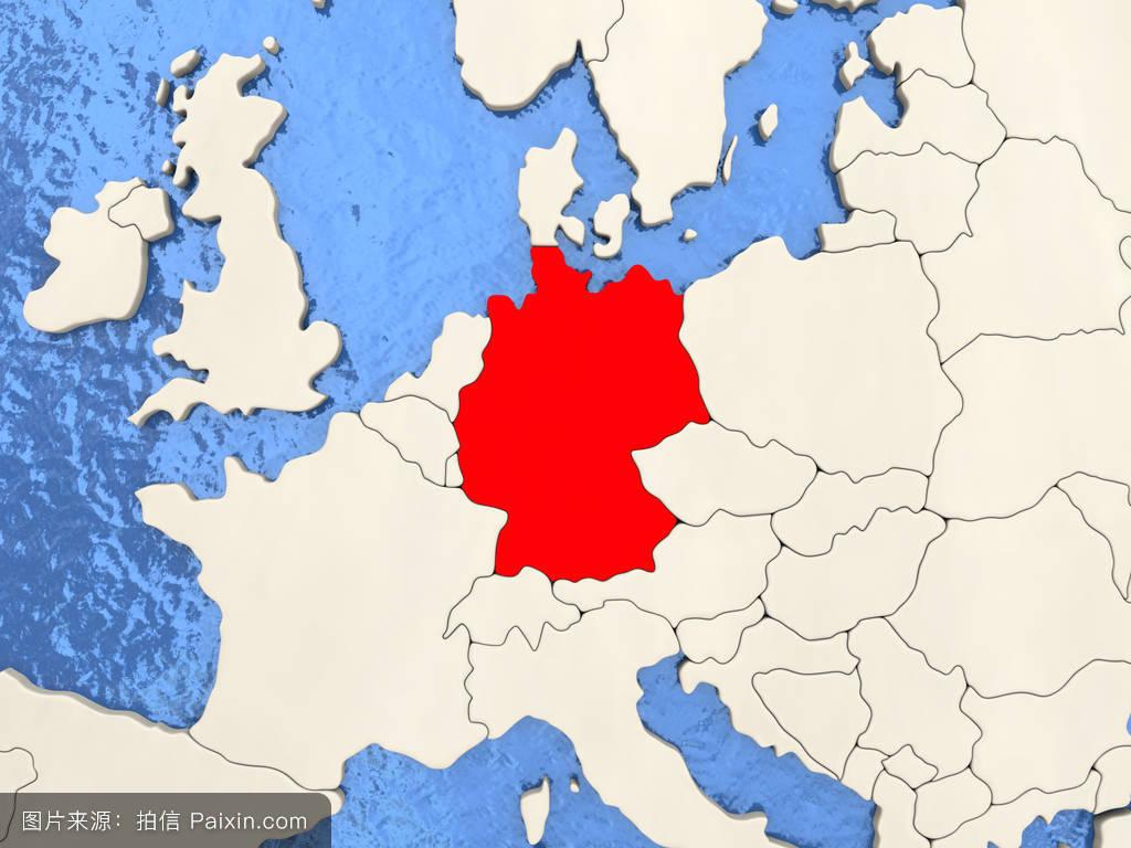 突出,欧洲,地图,国家,红色,水,国际的,海洋,插图,政治的,德国,3d渲图片