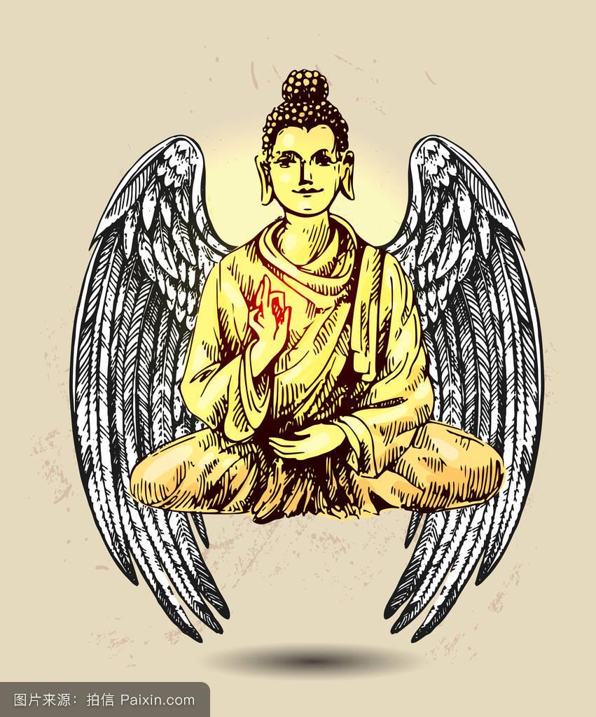 华丽的,印度,雕像,寺庙,纹身,风格,背景,矢量,民族的,上帝,如来佛祖的图片