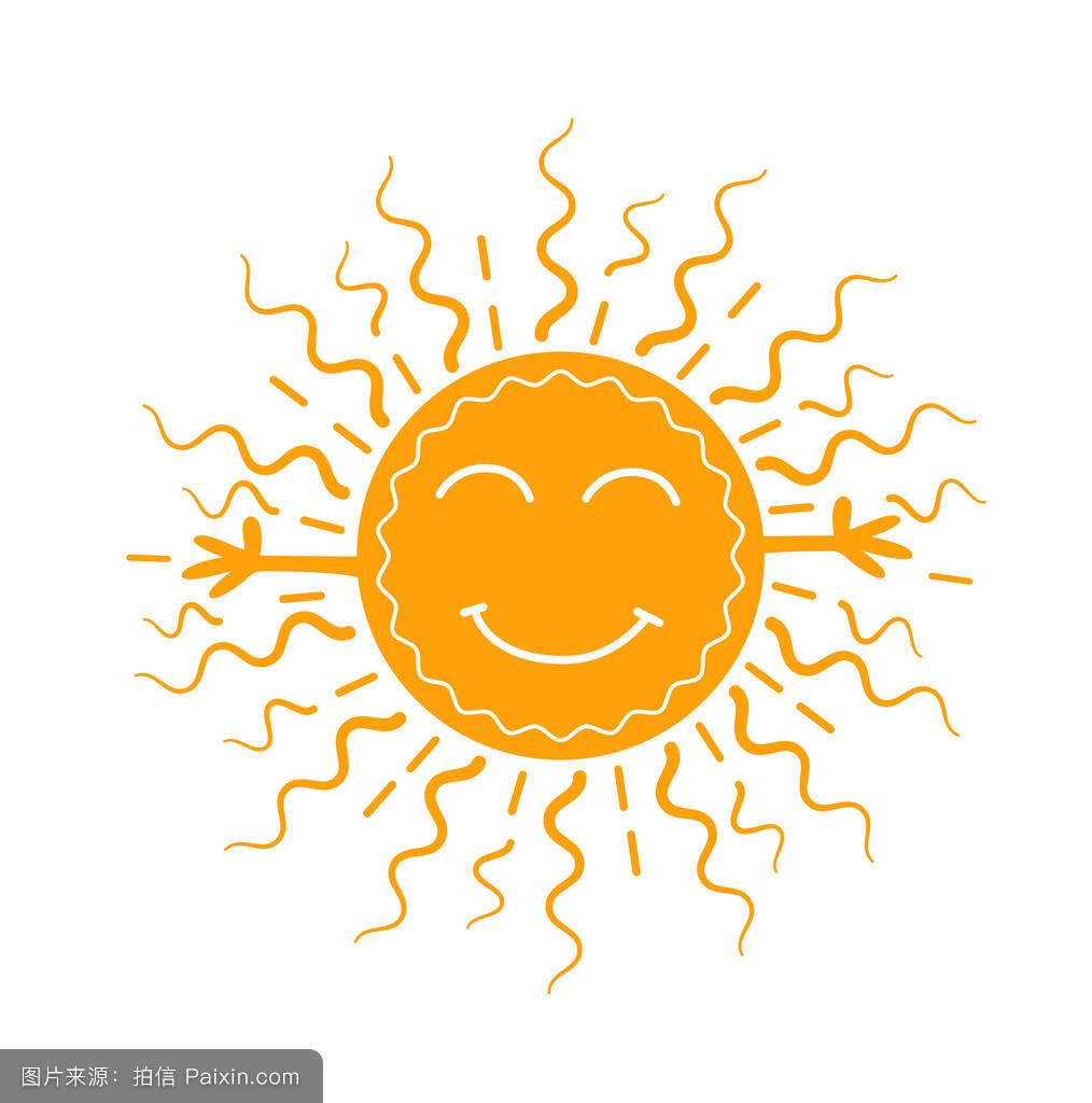 阳光,爱,标志,春天,符号,表情符号,煎饼,面对,平的,线,概念,晴朗的图片