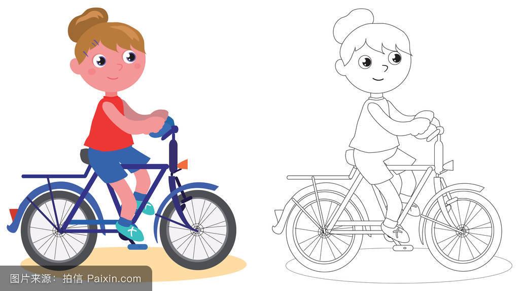 卡通,女人,eps,自行车,可爱的,玩,周期,积极的,骑自行车的人,童年,快图片