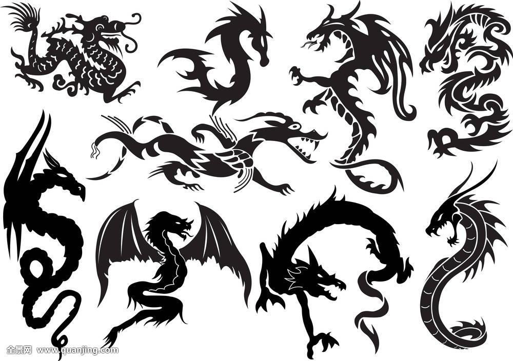 龙,中国,文化,插画,纹身,象征,传统,神话,黑色,设计,怪兽,动物,爪,日图片