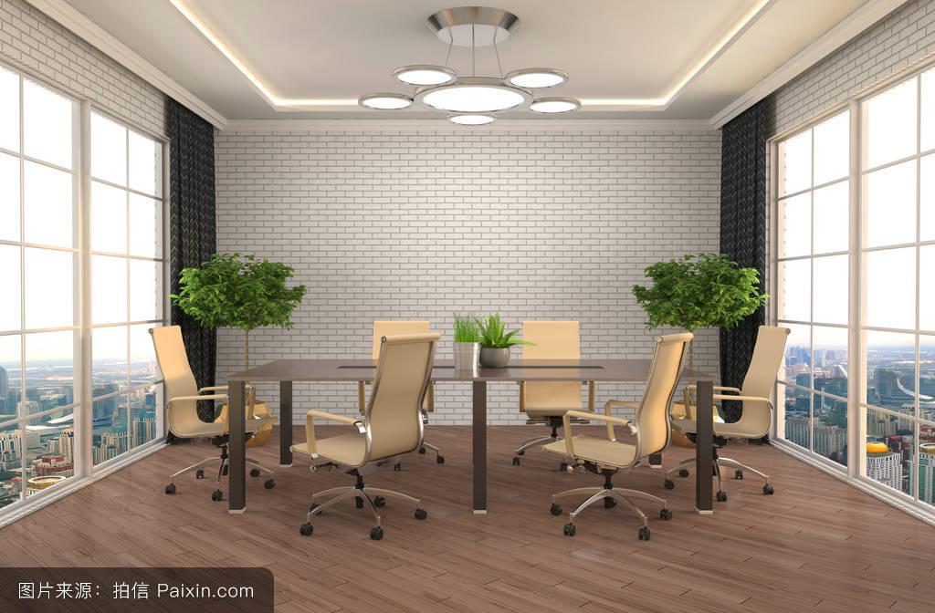 装饰品,木制的,工作,pc,反思,光,提供,地方,3d,内部,办公室,阁楼,设计图片