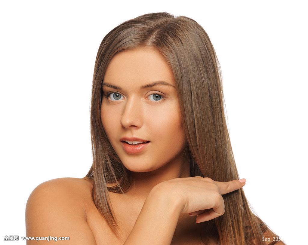 脸长头发手势切发式理发师手指接触发型美发师魅力美女