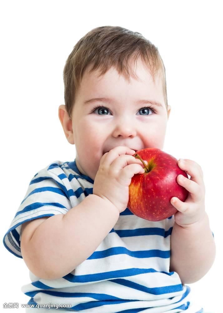 美,蓝色,男孩,护理,白人,孩子,特写,彩色,吃,表情,脸,喂食,食物,水果图片