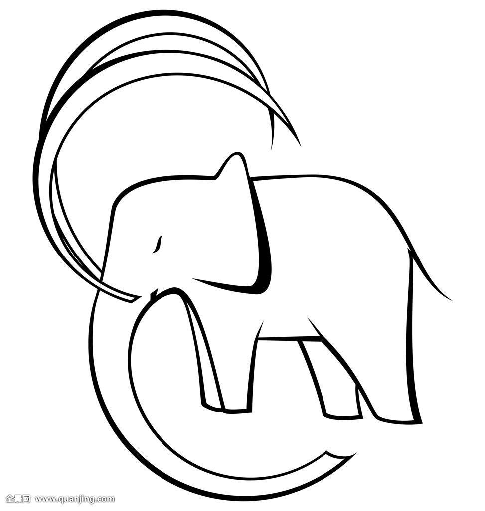 黑白,大象,矢量图片
