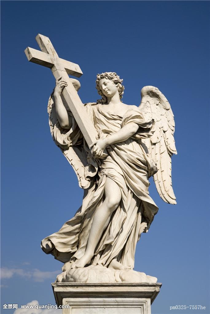 桥,穿过,雕塑,罗马,天使,石头,乐园,欧洲,翼,大理石,基座,方形底座图片