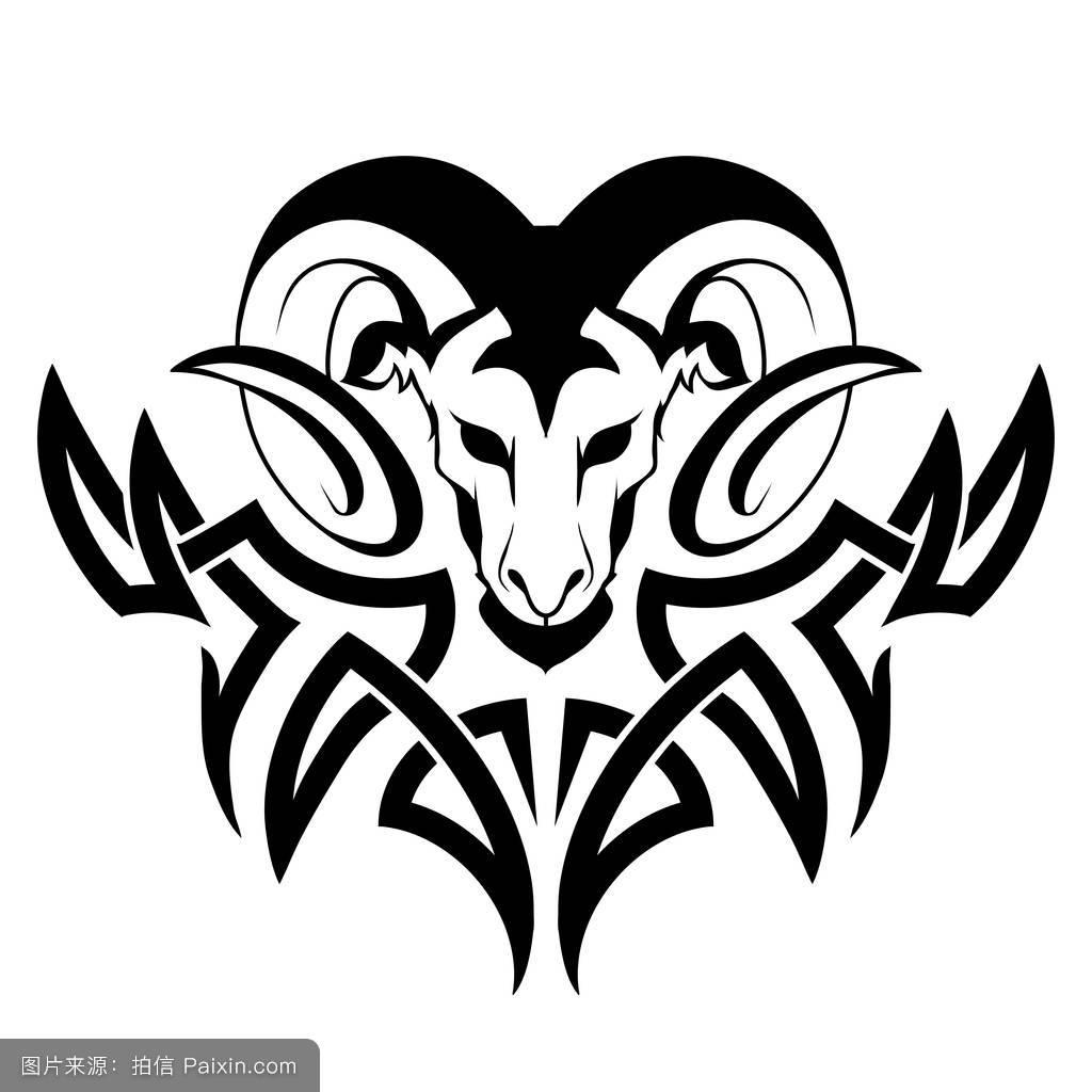 矢量图像白羊座纹身图片