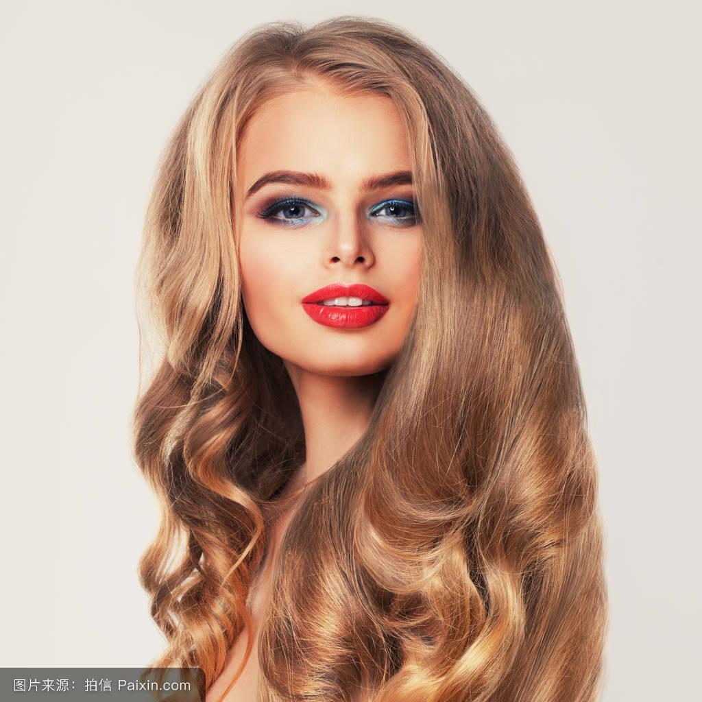 嘴唇,女人,烫发,卷曲的,美丽的,洗发水,面对,头发,牙齿,健康的,淫荡图片