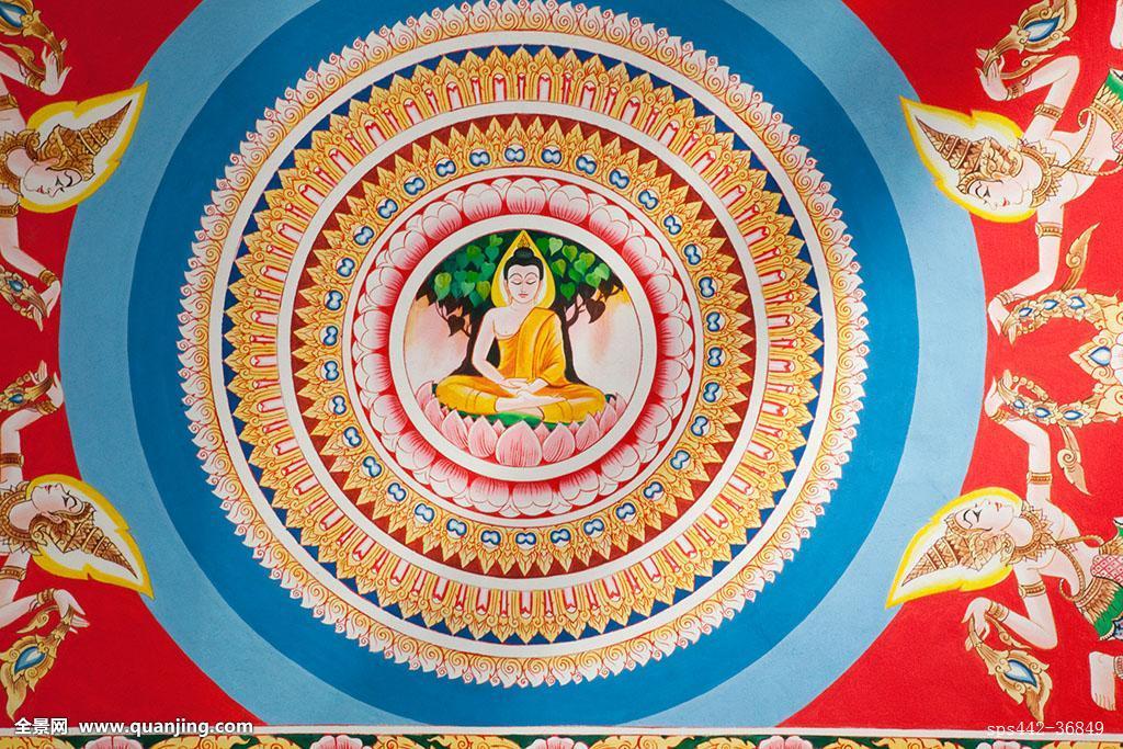 图案,庙宇,宗教,墙壁,思考,绘画,照片,亚洲,圆,壁画,佛,佛教,创意图片