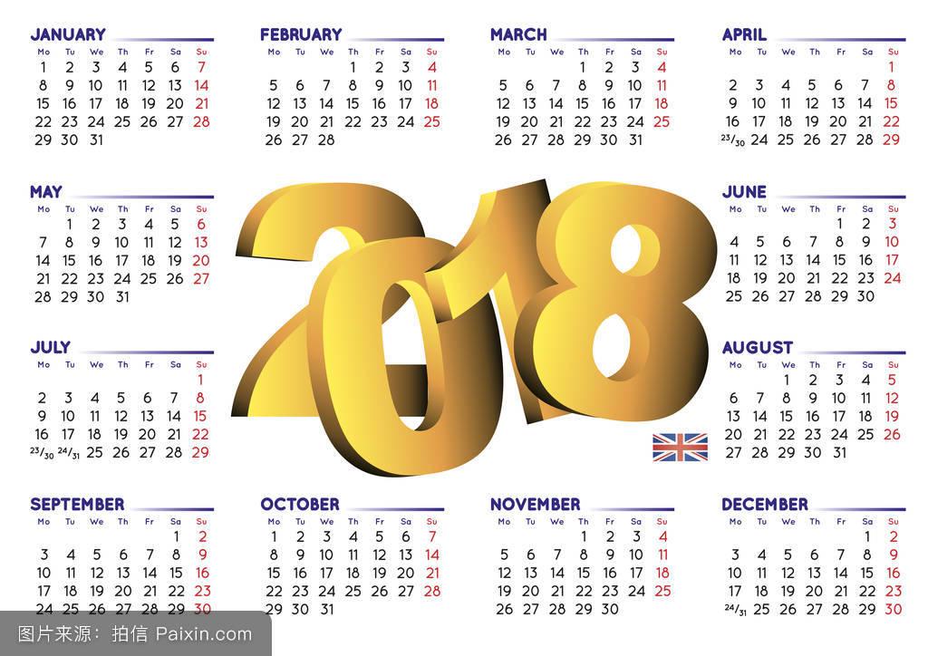 英语水平英国2018年历图片