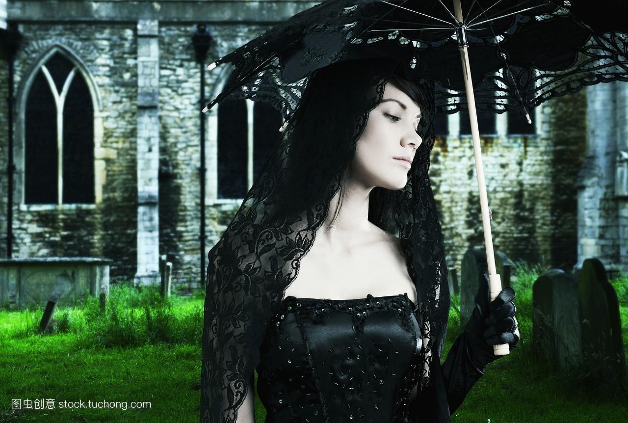 附加物,配件,一个,黑色,晚礼服,成年人,墓穴,头和肩膀,白天,哥特式,盛图片
