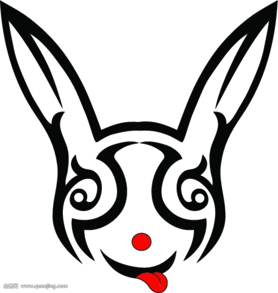 兔子纹身黑白简笔分享展示图片