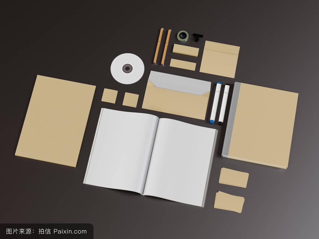 打印,三维图,信封,视觉的,要素,样机,向上的,小工具,钢笔,模板,企业设图片