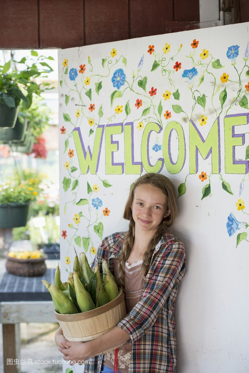 小孩,裁,有机食品,小孩子,微笑,谷物,玉米,具名,信息标志,平头,摄影图片