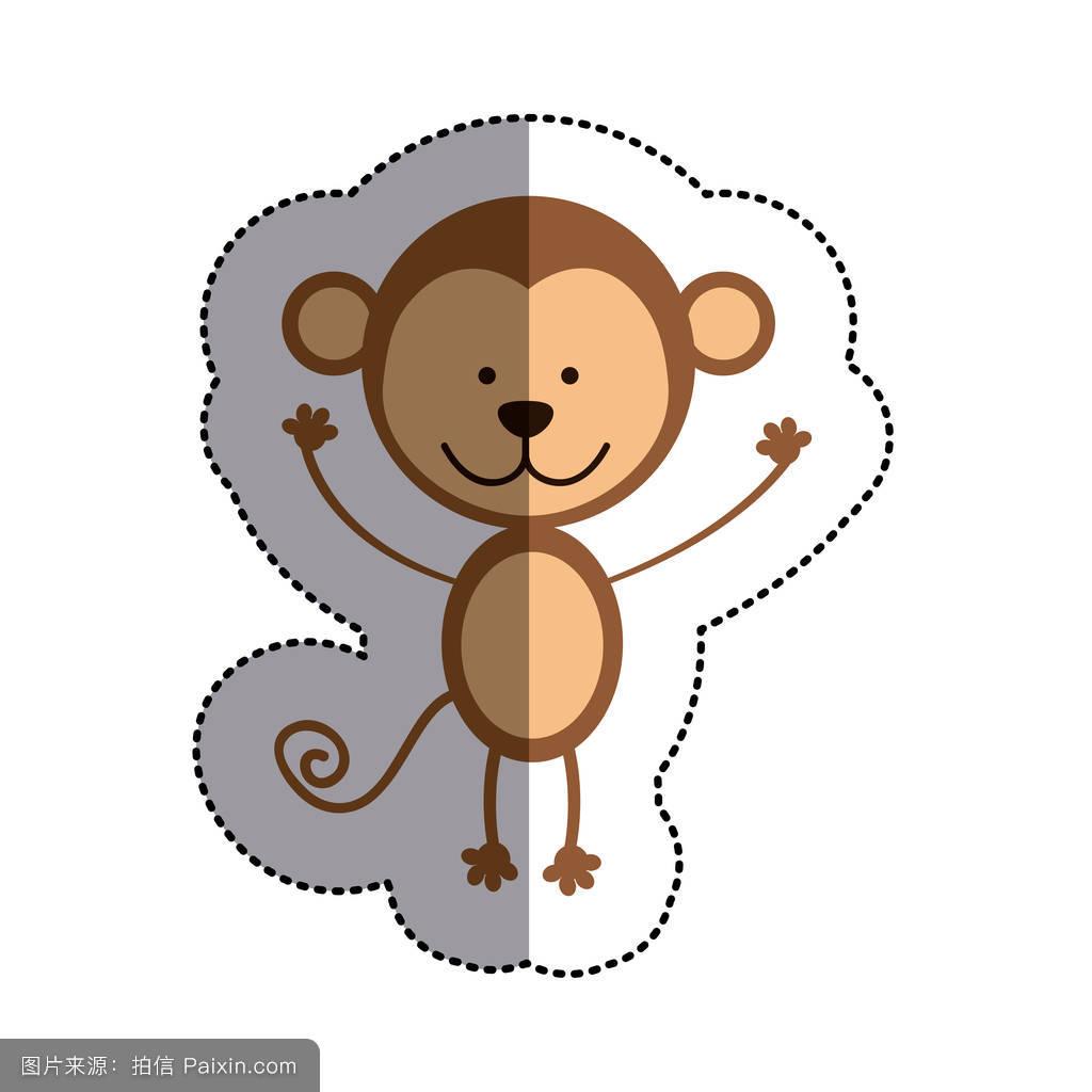 画猴子用什么颜色_猴子和中阴影的彩色贴纸