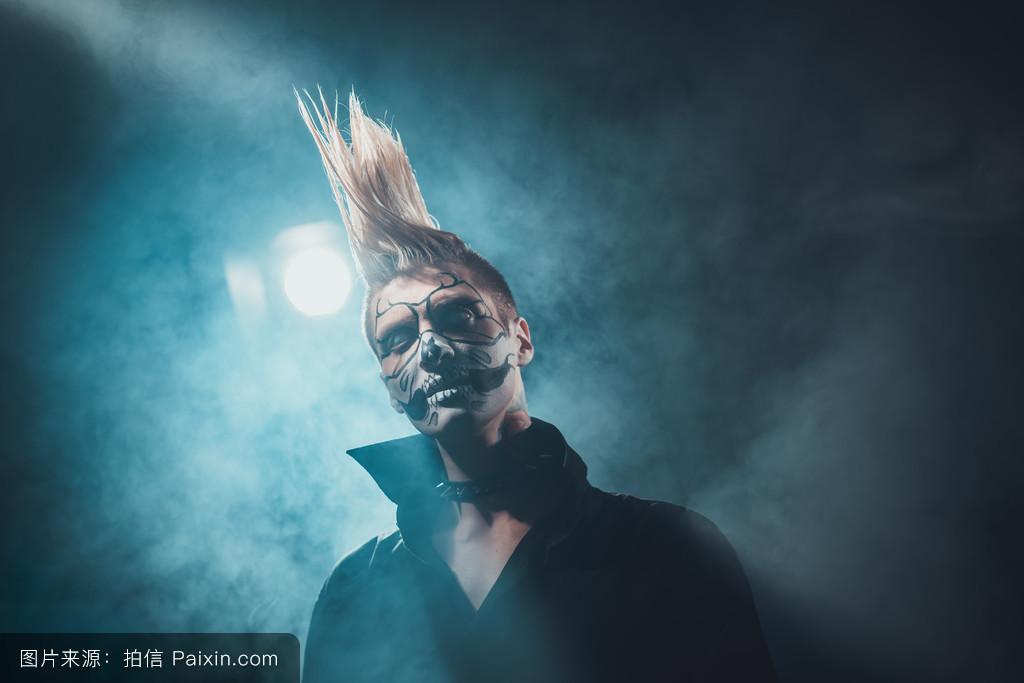 哥特,十月,戏法,幽灵般的,岩石,僵尸,可怕的,对待,面具,黑色,吓人的图片