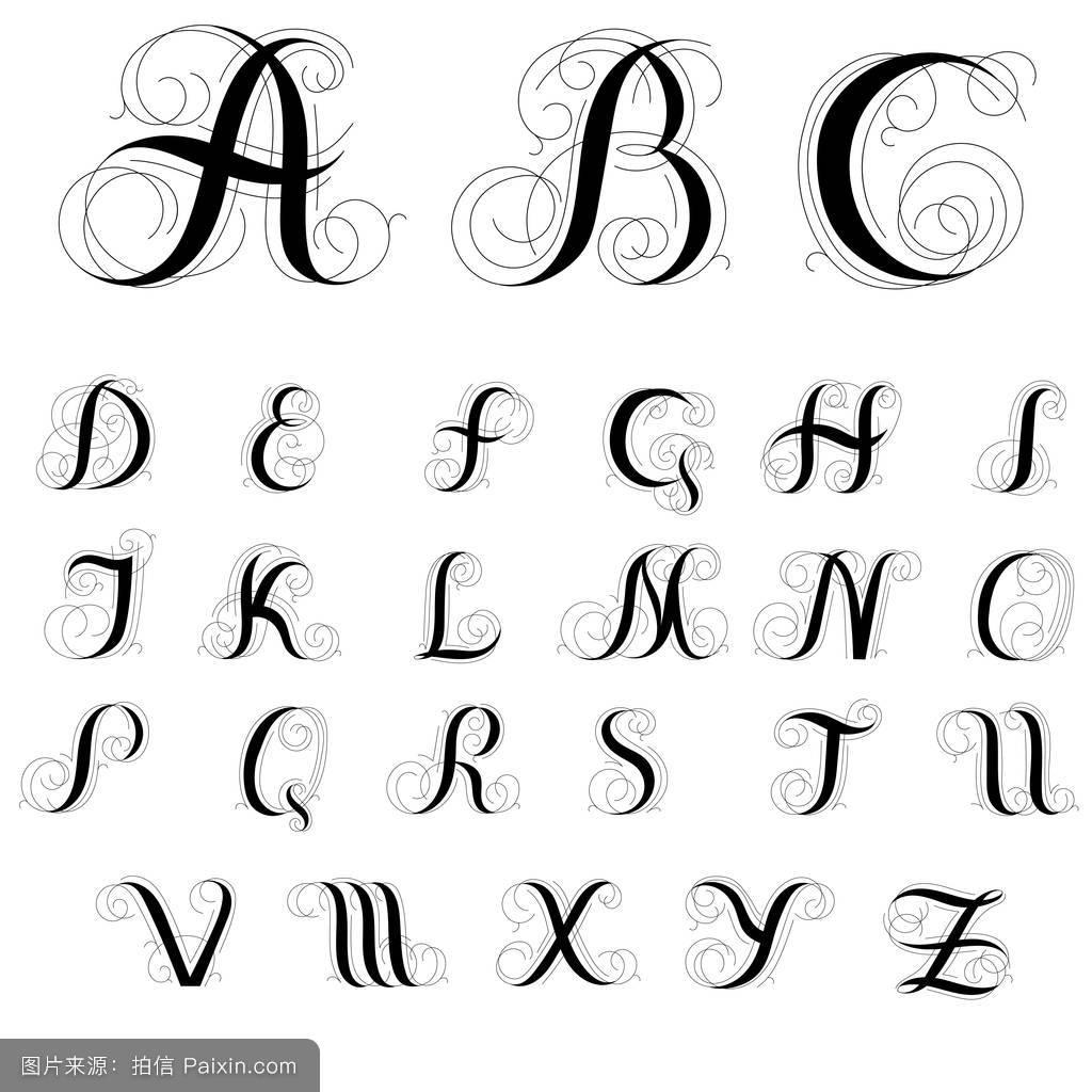 矢量风格计算机文本信哥特式文化华丽的装饰旋转字体纹身注塑成型模具设计说明书图片