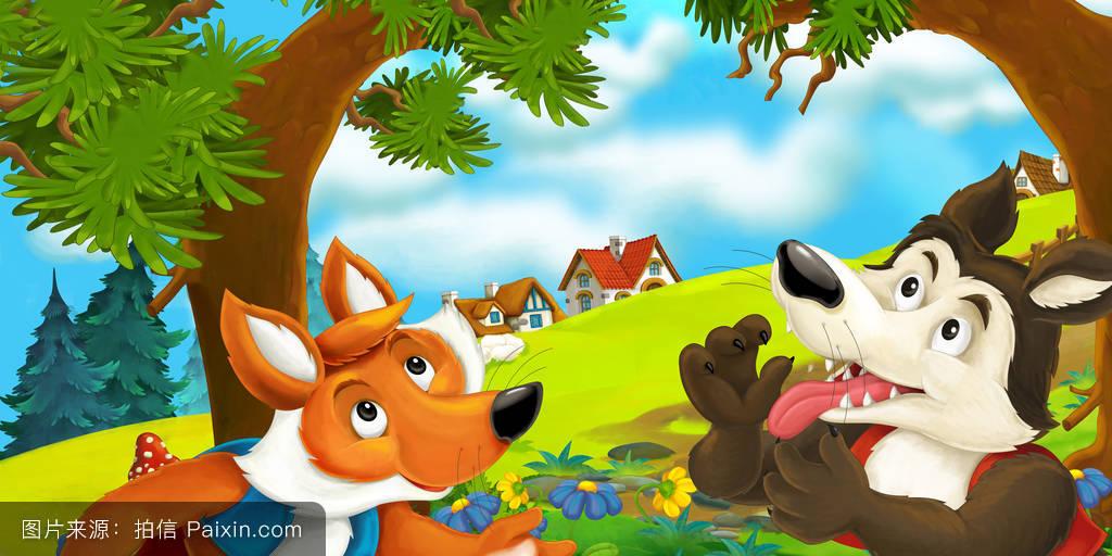 美丽的,荒野,房屋,自然,寓言,狼,童年,花,幸福的,可爱的,娱乐,森林图片