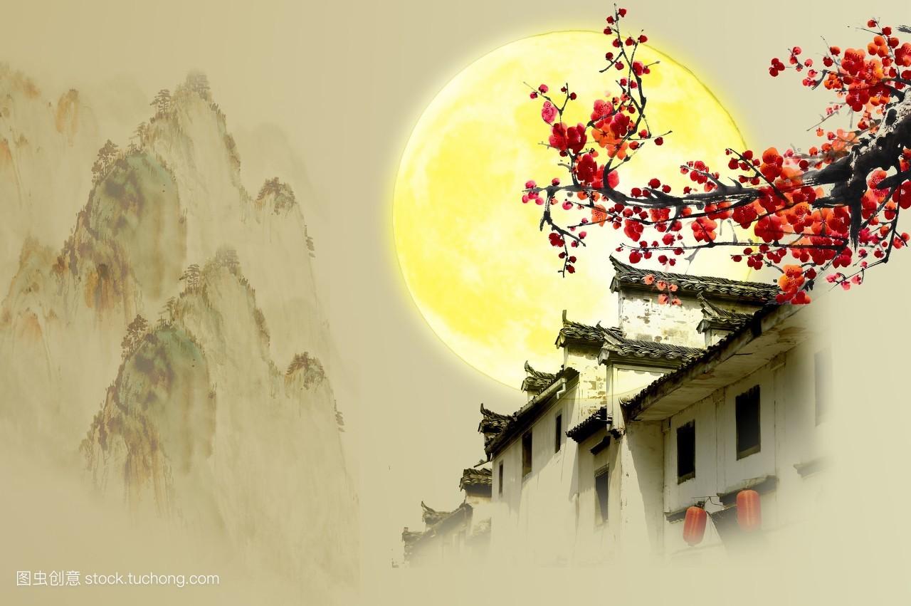 梅花,开花,花苞,美丽,高雅,美丽的,冬天,高山,山脉,黄色背景图片图片