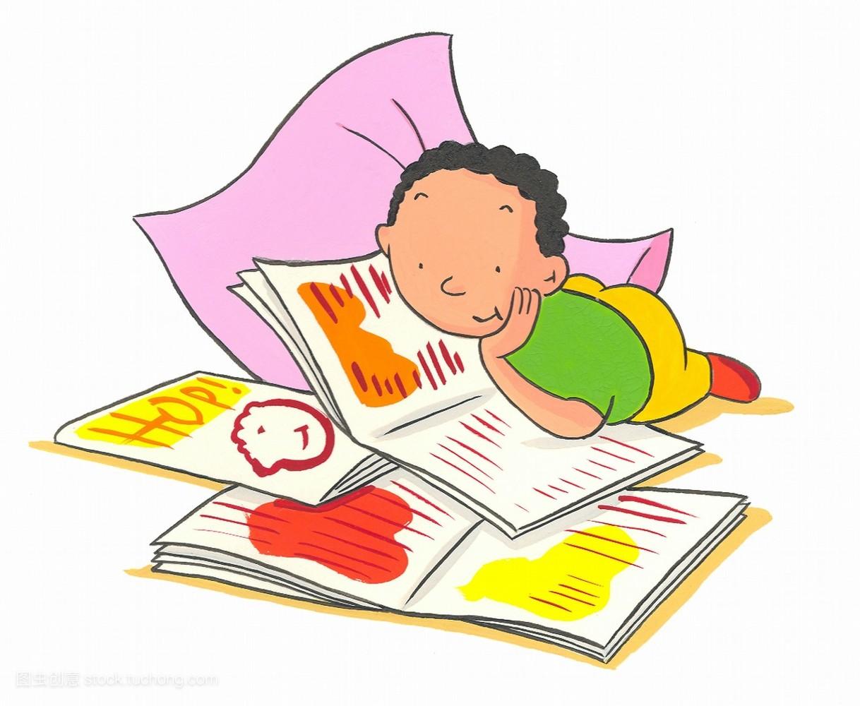 一个,男人,读书,欧洲人,知识,人,书,休闲,1岁到5岁,稚子,插画,小孩子图片