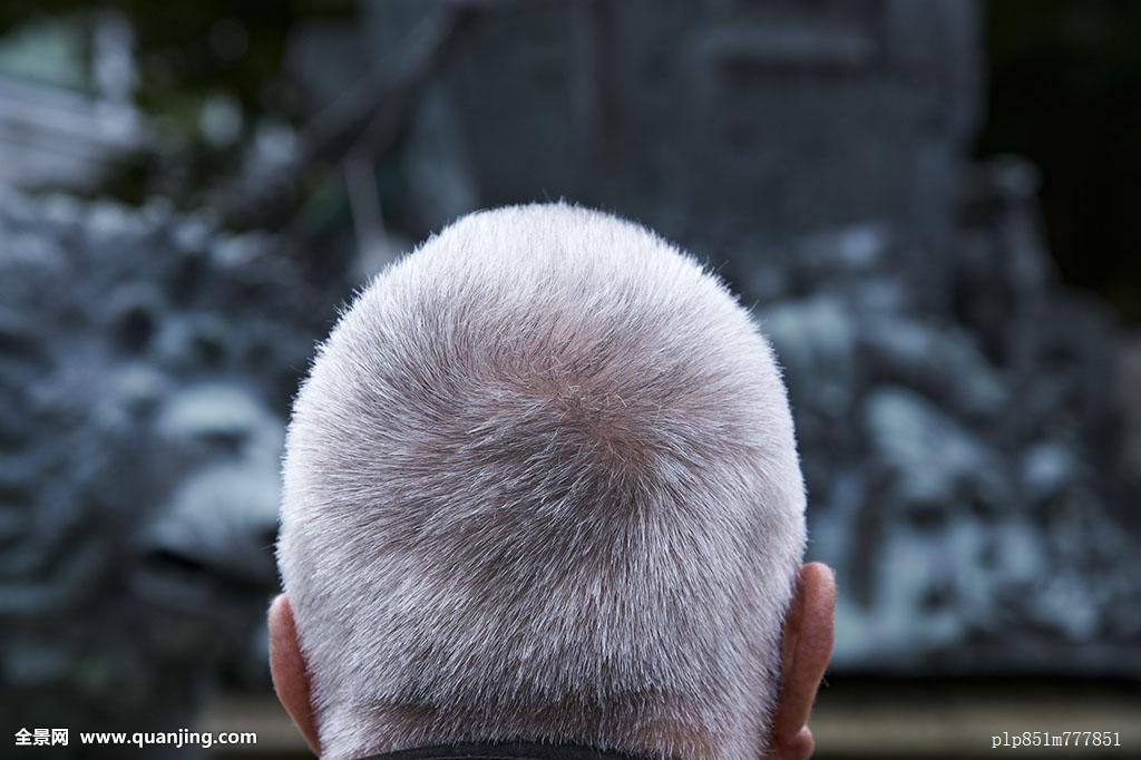 60-70岁,65-70岁,成年,背影,头部,特写,发现,老人,白发,头发,发型图片