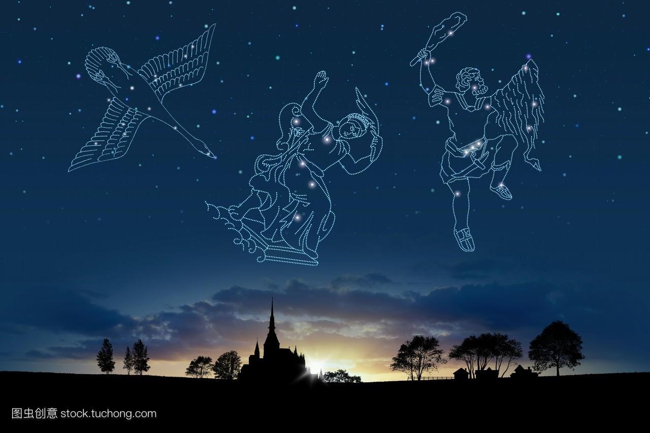 星座,鸟类,风光旅游,星空,星星,彩色图片,女性肖像,数码合成,横构图图片