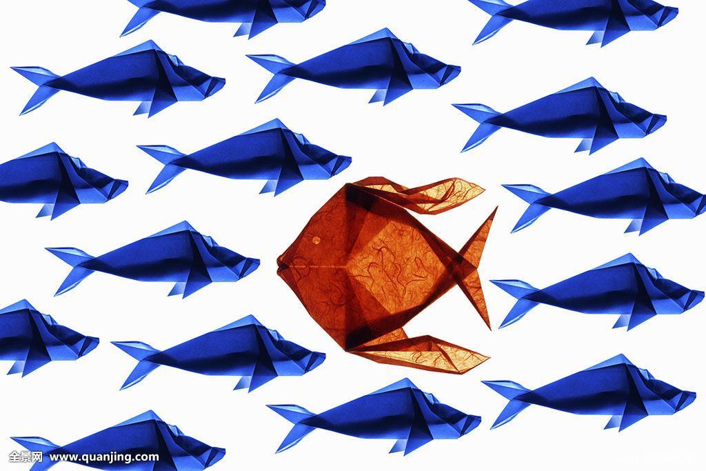 橙色,折纸,鱼,与众不同图片