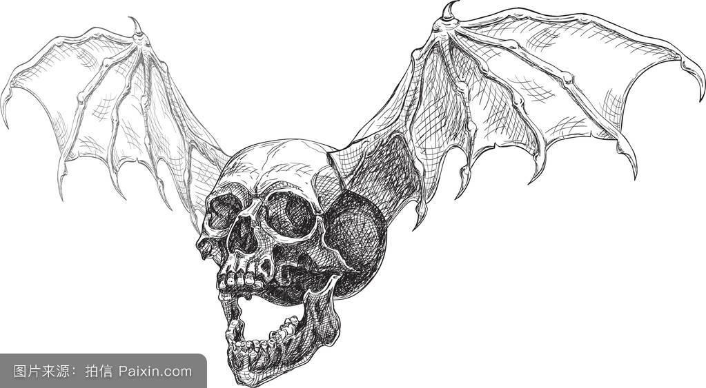 骷髅头和翅膀图片