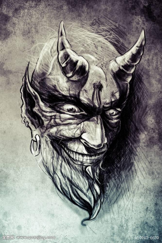 撒旦头部纹身分享展示