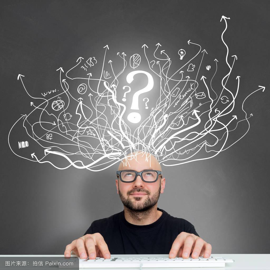 结论,认为,概念,头,商业,图标,工作,幸福的,互联网,白种人,思维,机会图片