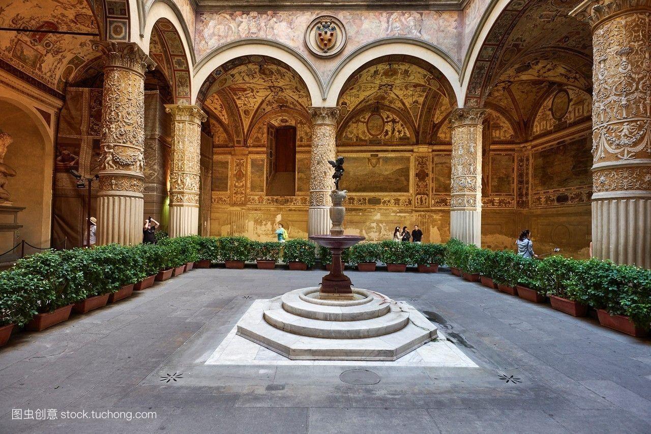 彩色图片,柱子,白天,佛罗伦萨,喷泉,横图,内院,室内,意大利,地标,宫殿图片